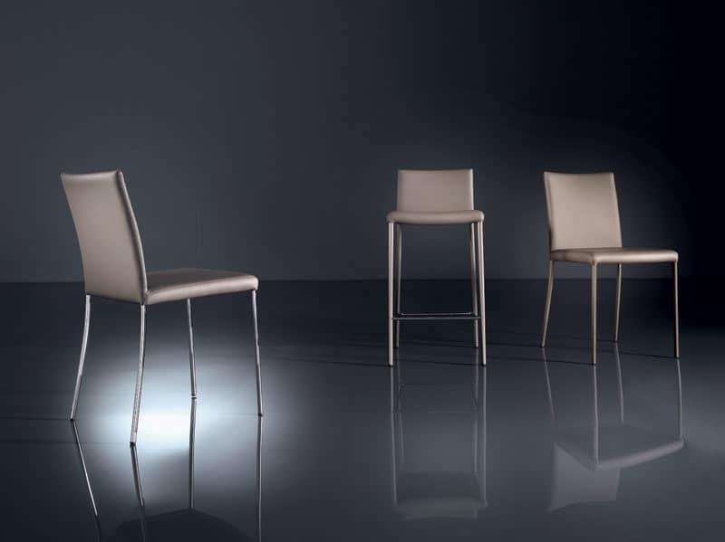 ART. 219 PRISCILLA  , Sedia moderna in metallo verniciato, sfoderabile