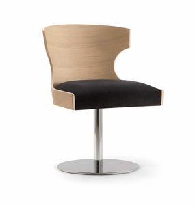 XIE SIDE CHAIR 052 S F, Sedia con scocca in legno e base a disco in metallo