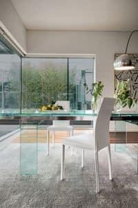 PLAZA, Sedia moderna in pelle per sala da pranzo, sedia metallo pelle per cucina