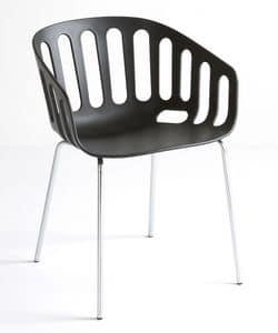 Basket Chair NA, Sedia con base in metallo, seduta in tecnopolimero