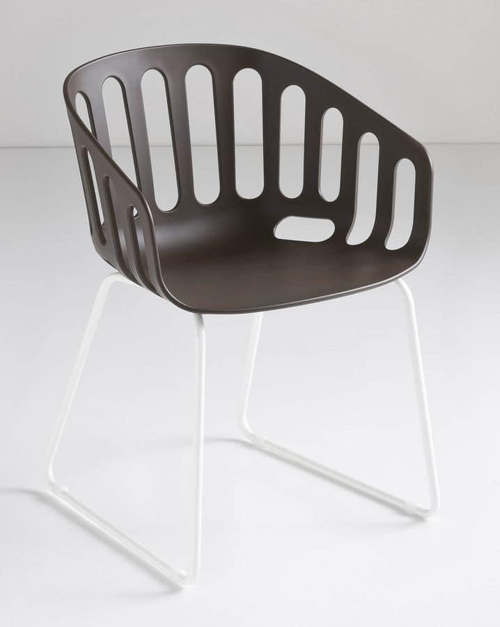 Basket Chair ST, Sedia con base a slitta in metallo, scocca in polimero