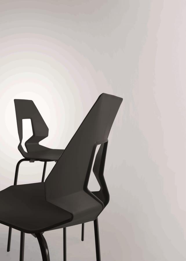 Prodige NA, Sedia minimale in metallo e polimero, schienale forato