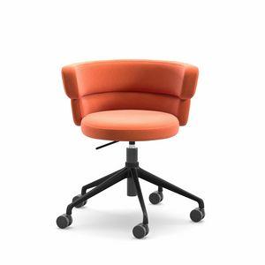 Dam HO, Poltroncina home-office, girevole su ruote, con comoda scocca imbottita