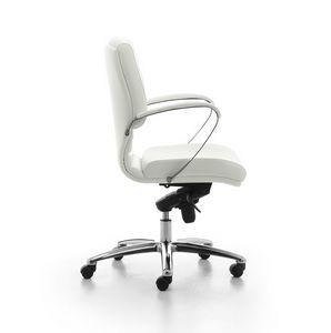 Digital Chrome 02, Sedia direzionale imbottita con schienale medio per ufficio