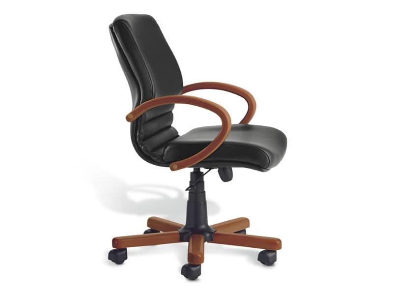 Digital Wood 02, Sedia direzionale, base in legno, per ufficio