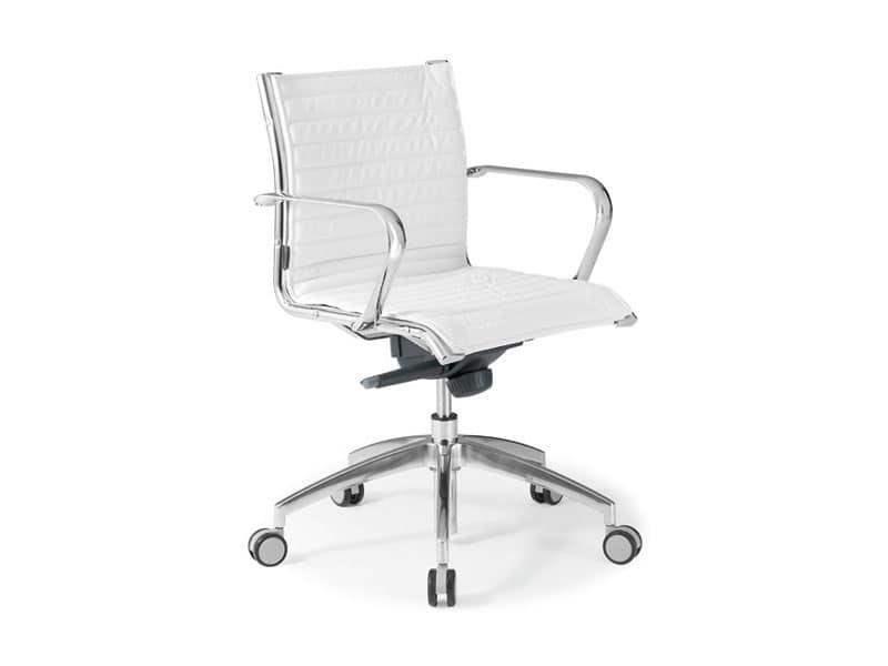 Origami IN direzionale 70120M, Sedia per ufficio in pelle con struttura in acciaio cromato