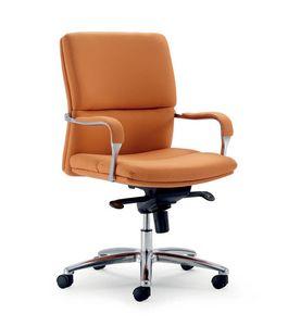UF 578 / B, Sedia per ufficio con base in alluminio, meccanismo multiblocco