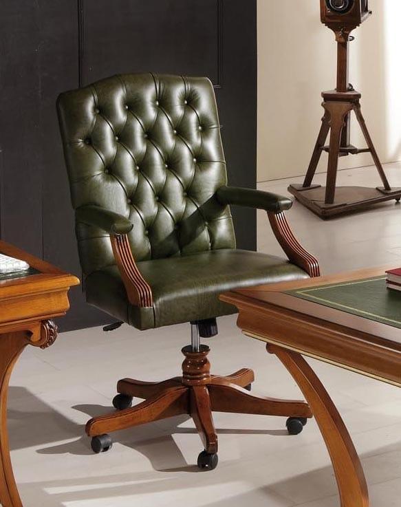 Poltrona da ufficio classica, in pelle verde | IDFdesign