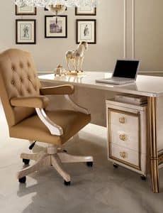 Melodia poltrona ufficio, Poltrona per ufficio in stile classico, base con ruote, braccioli imbottiti