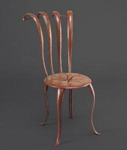 HF2013CH, Sedia in ferro con decoro sulla seduta