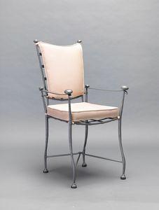 INTRECCIO GF4004CH-A, Sedia per esterni in ferro con braccioli