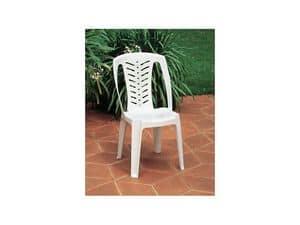 Corona, Sedia in plastica con schienale alto, per uso esterno