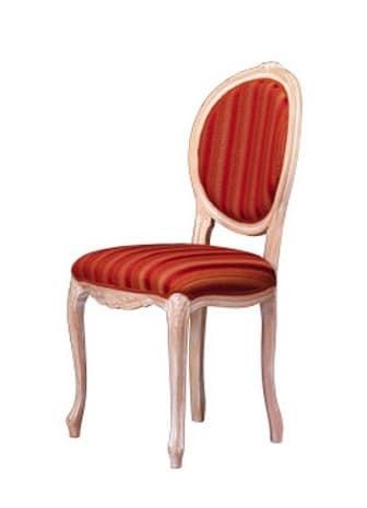 1052, Sedia in legno con schienale ovale, per zona giorno