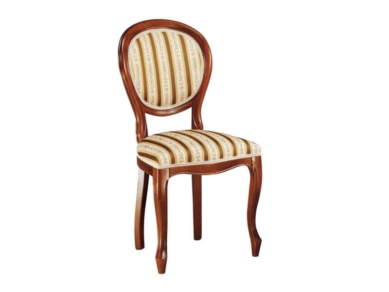 113, Sedia per sala da pranzo, in legno con seduta imbottita