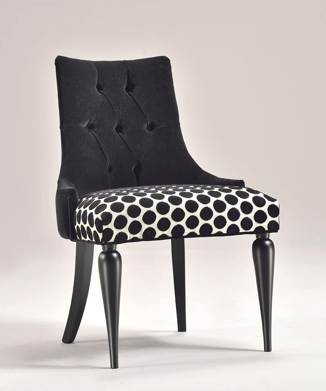 Sedia classica contemporanea, sedile imbottito, in faggio ...