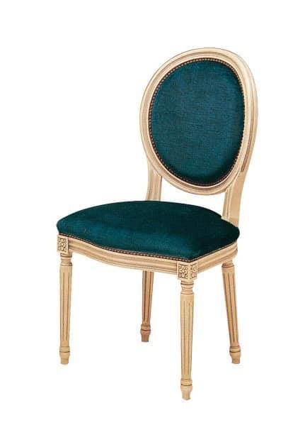 S07, Sedia in legno di faggio, imbottita, in stile classico