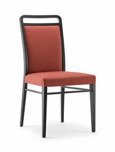 HAVANA SIDE CHAIR 020 S, Sedia in legno massello, imbottita