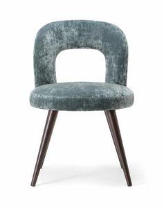 HOLLY SIDE CHAIR 065 S, Sedia con gambe in legno massello e seduta imbottita