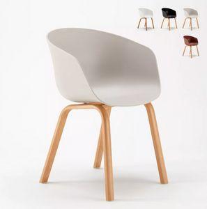Sedie con Cuscino Tessuto Design Scandinavo Tulip Nordica Plus per Cucina e Bar SNP635F, Sedia dal design scandinavo