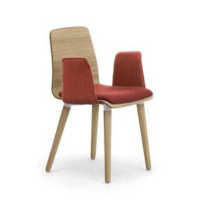 Zerosedici Wood 4GL, Sedia in legno, con braccioli e seduta imbottiti