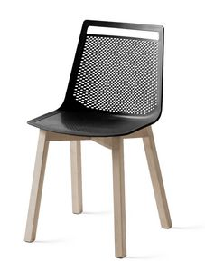 Akami BL, Sedia in tecnopolimero con gambe in legno