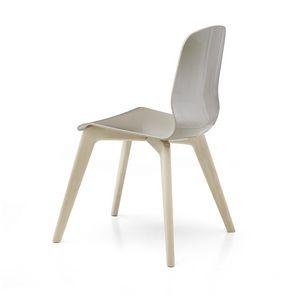 Glamour Wood Plastic, Sedia in legno, con scocca in tecnopolimero