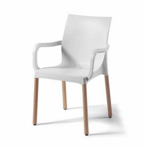 Iris BL, Sedia in tecnopolimero con gambe in legno