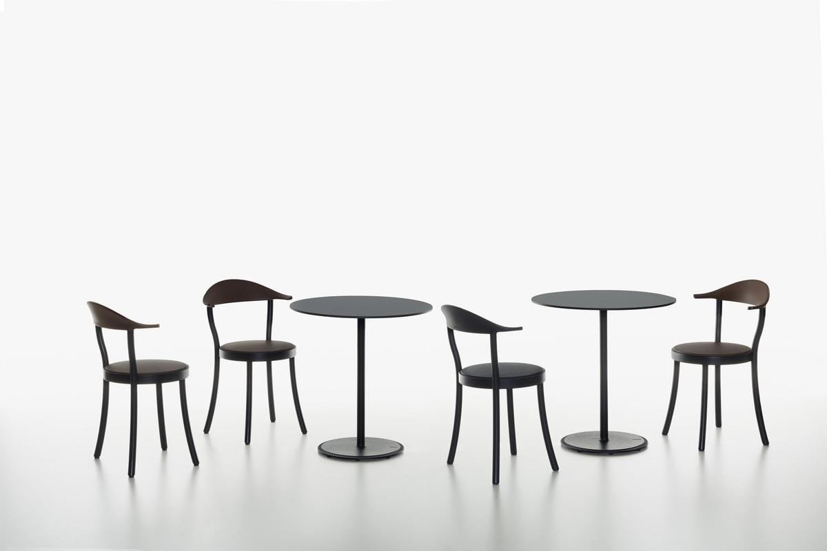 Monza Bistro mod. 1212-20, Sedia con seduta tonda, in faggio e plastica