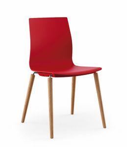 Q3, Sedia con gambe in legno