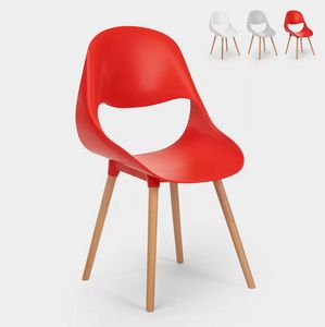 Sedie per cucina e bar polipropilene legno design moderno conchiglia Shell SC773PP, Sedia in polipropilene e legno