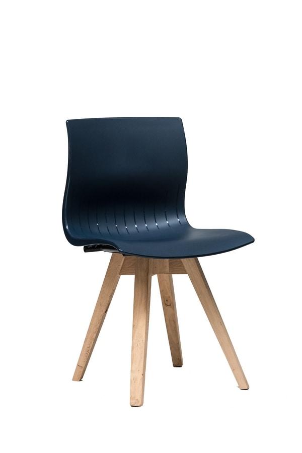 WEBBY 333P, Sedia in legno con scocca in nylon