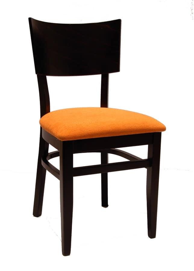 0512, Sedia per ristorante, con seduta imbottita in tessuto