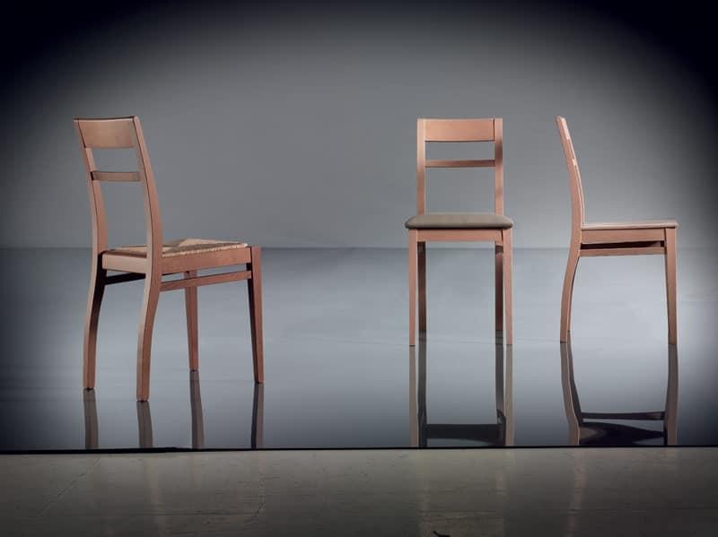 ART. 134 HARMONY, Sedia semplice in faggio, sedile imbottito, per soggiorno