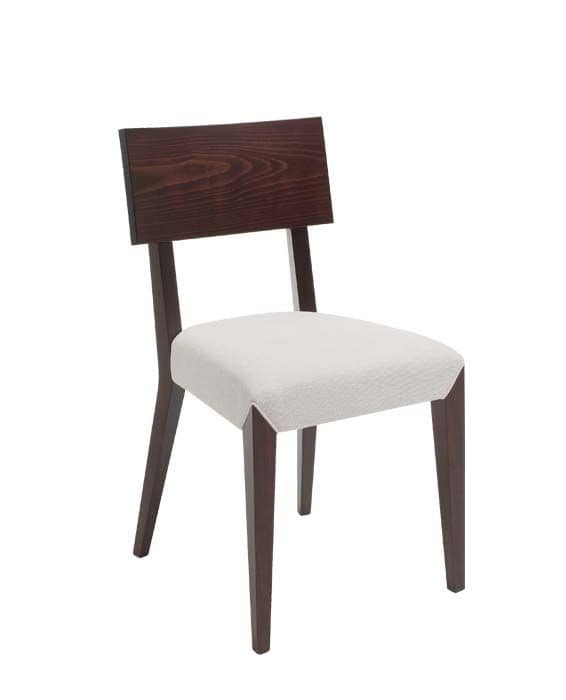 C40, Sedia in legno, seduta imbottita e rivestita in tessuto, per ambienti contract e domestici