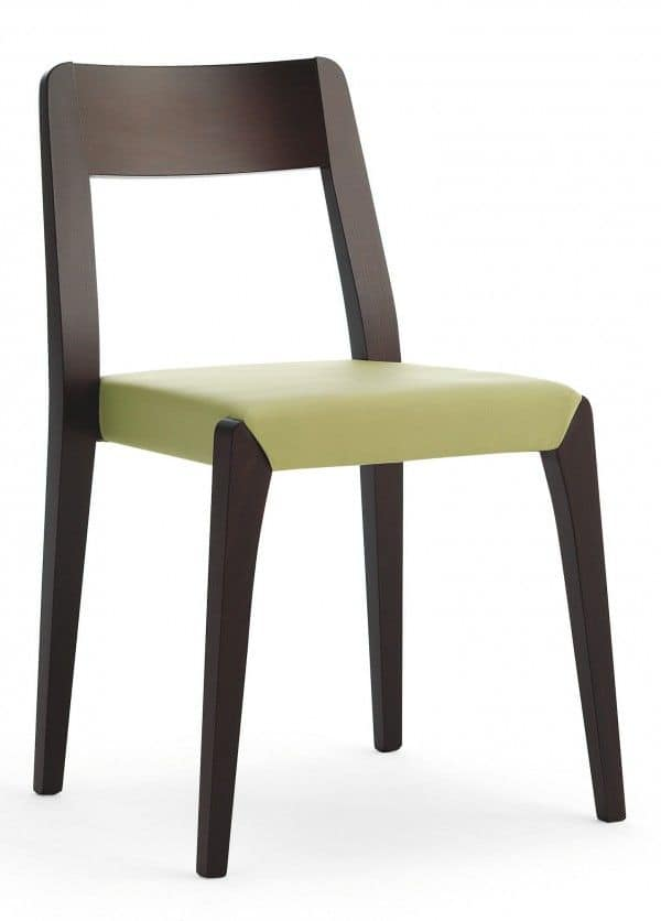 D09, Sedia in legno, seduta imbottita, copertura in tessuto, per uso contratc e domestico