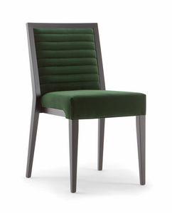 GINEVRA SIDE CHAIR 031 S, Sedia in legno massello, con seduta e schienale imbottiti