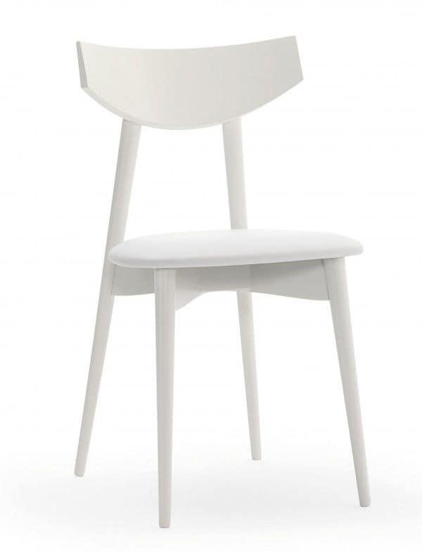 M21, Sedia in faggio massiccio, seduta imbottita, per uso contrat e domestico