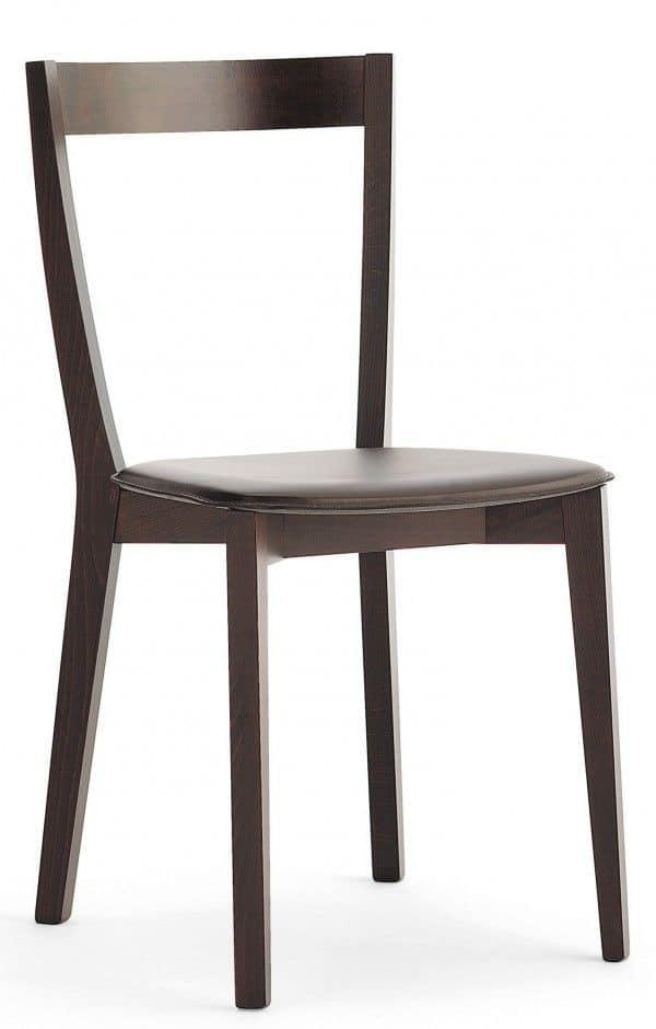 M22, Sedia in legno, seduta imbottita, per ristoranti e bar