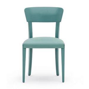 Steffy 00411, Sedia in legno massiccio, seduta imbottita, stile moderno