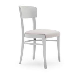 Steffy 00412, Sedia in legno massiccio, seduta imbottita, per ambienti contract e domestici