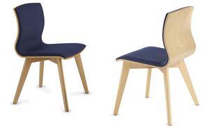 WEBWOOD 357Y, Sedia in legno con seduta imbottita