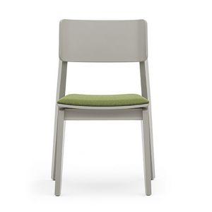 Offset 02812, Versatile sedia in legno con seduta imbottita