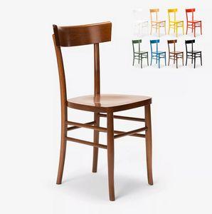 Sedia in legno classica rustica per sala da pranzo cucina bar ristorante Milano SM082MIL, Sedia in legno colorato