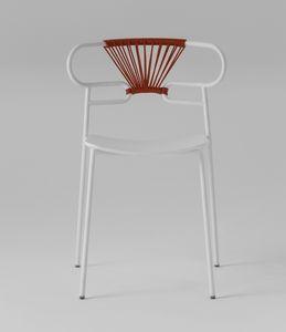 ART. 0047-MET-CROSS-PU GENOA, Sedia in metallo, con schienale decorato in corda