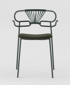 ART. 0048-MET-CROSS-IM GENOA, Sedia con braccioli, schienale in corda