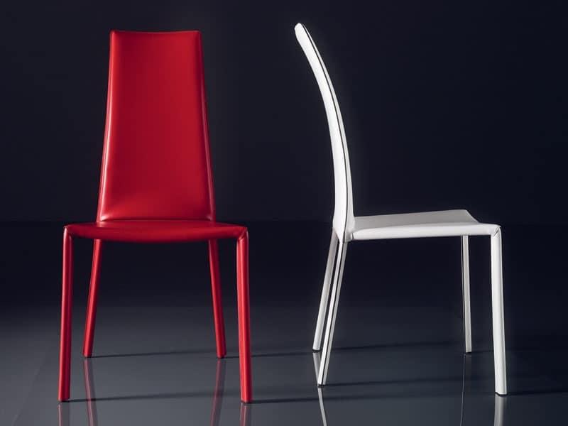 ART. 235 FIREFLY, Sedia con seduta imbottita in cuoio, schienale alto, per bar