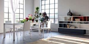 Liz, Sedia moderna in ecopelle, per cucina e sale da pranzo