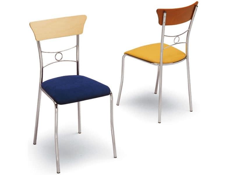 425, Sedia da pranzo, semplice ed elegante, schienale decorato