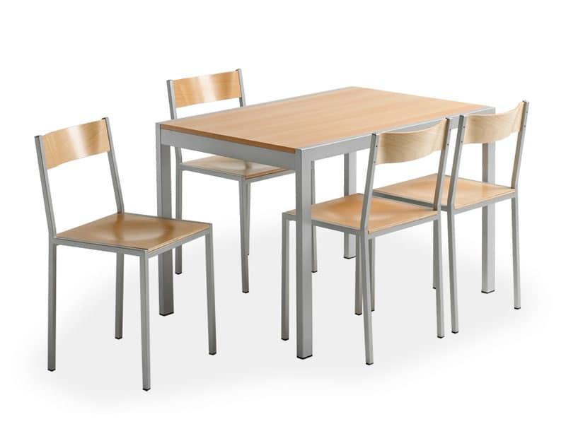 Do chair, Sedia in metallo, con seduta in legno, per mensa