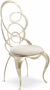 Ghirigori sedia, Sedia da pranzo con schienale sagomato in ferro